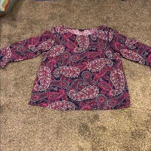 TALBOTS paisley  LG LARGE PETITE blouse Spring E